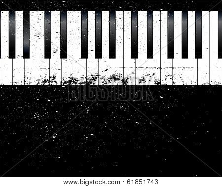 Black and white piano keys with a grunge jazz FX poster