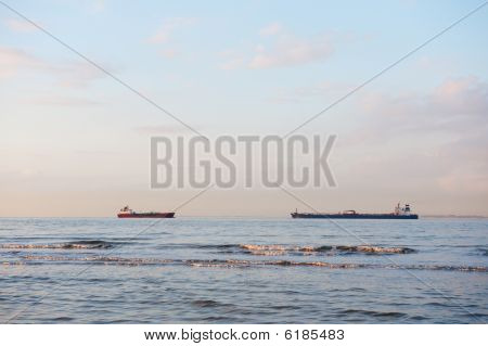 Transport by big ships at the Schelde in Holland poster