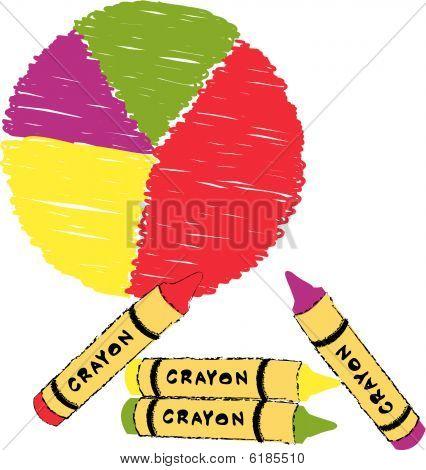 Circle Graph With Crayon Scribble.