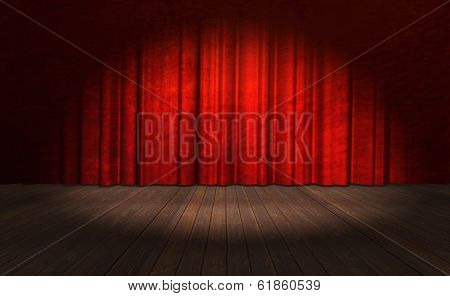 Illustration of an Old Stage with Curtain and Spotlight