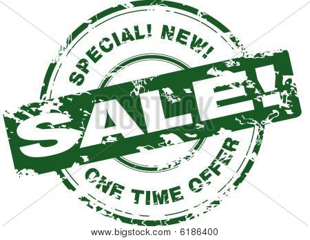 Sale. Green rubber stamp