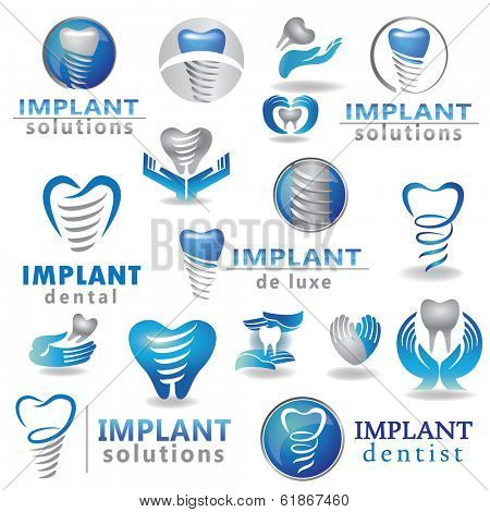 Dental implants symbol collection. Clean and bright designs.