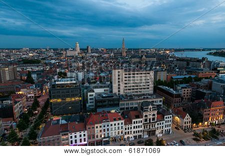 Aerial View To The Center Of Antwerp From The Roof