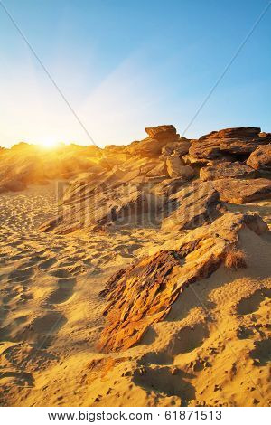 The Stone Grave Or Rocky Mound Kamena Mohyla. Sundown Landscape. Ukraine