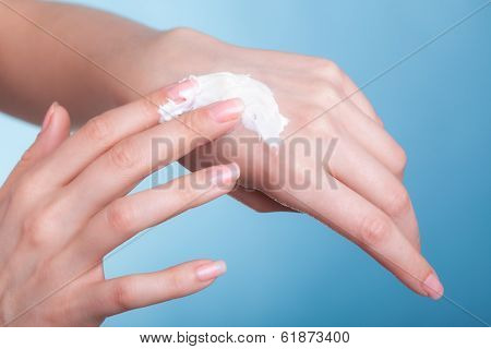 Skin Care. Female Palms With Moisturizing Cream.