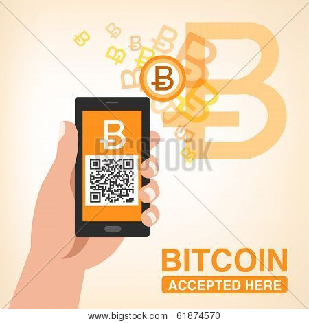 "Bitcoin accepted- Smartphone with QR code in hand.(This code generates ""Bitcoin QR code"") File contains Gradients Gradient mesh. poster"