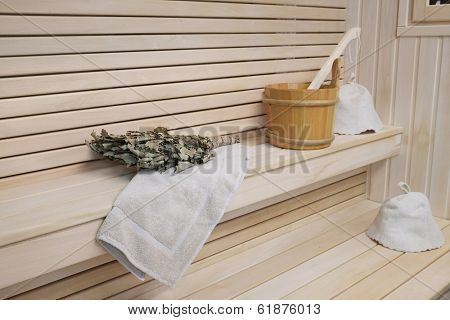interior of russian wooden bath