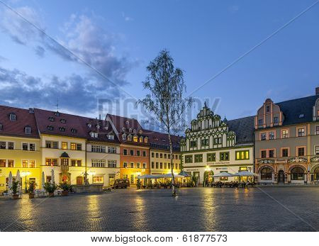 WEIMAR, GERMANY - APR 4, 2012: City view of Weimar by night Thuringia Germany