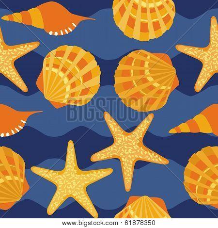 vector seamless pattern, shells, starfish