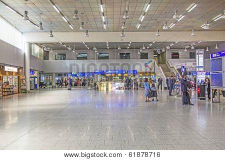 People At Departure Hall At Frankfurt International Airport