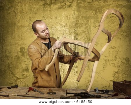 poster of fine portrait of craftsman at work and grunge background