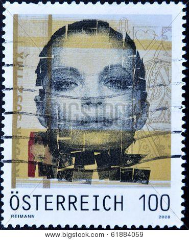 AUSTRIA - CIRCA 2008: A stamp printed in Austria shows actress Romy Schneider, Sissi
