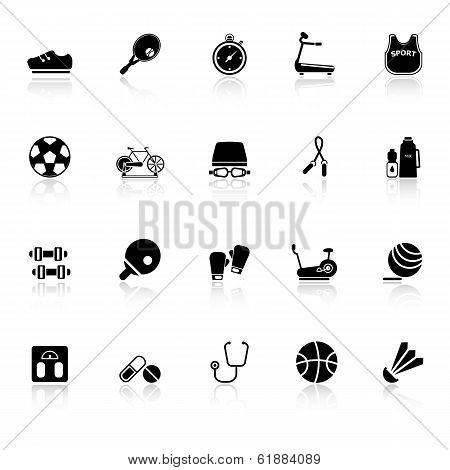 Fitness Sport Icons With Reflect On White Background