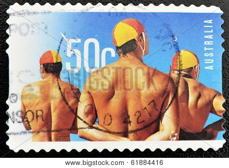 AUSTRALIA - CIRCA 2007: A stamp printed in Australia shows swimmers circa 2007