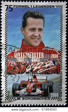 AUSTRIA - CIRCA 2006: A stamp printed in Austria shows Michael Schumacher circa 2006