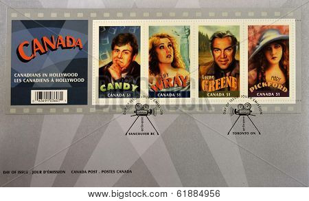CANADA - CIRCA 2006: A stamp printed in Canada shows Canadian actors who have succeeded in Hollywood