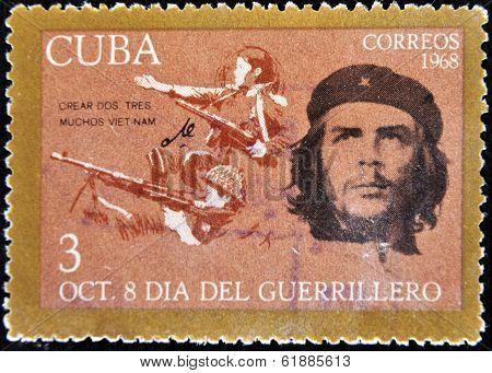 CUBA - CIRCA 1968 : A stamp printed in Cuba shows Ernesto Che Guevara- legendary guerrilla circa 196