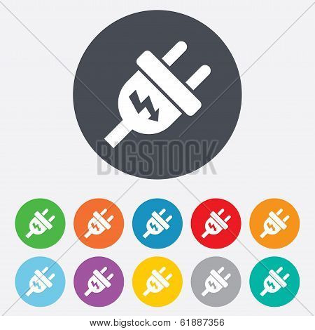 Electric plug sign icon. Power energy symbol. Lightning sign. Round colourful 11 buttons. Vector poster