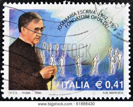 ITALY - CIRCA 2002: A stamp printed in Italy shows Jose Maria Escriva de Balaguer founder of Opus De