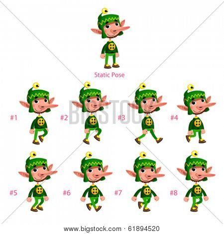 Animation of Dwarf walking. Eight walking frames + 1 static pose. Vector cartoon isolated character/frames.