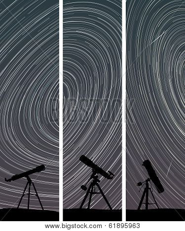 Vertical Banners Of Stars Trace Circles On The Sky With Telescopes.