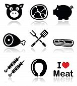 Food vector icons set - pork isolated on white poster