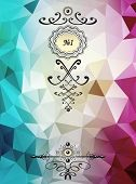 Abstract triangle background with badge cyan lilac color for advertising something poster