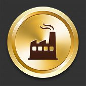 Factory Icons on Gold Button Collection poster