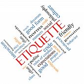 Etiquette Word Cloud Concept angled with great terms such as manners polite social and more. poster
