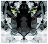 Geometric polygon white tiger head, triangle pattern design, vector illustration poster