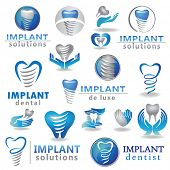 Dental implants symbol collection. Clean and bright designs.  poster