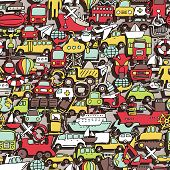 Transportation seamless pattern (repeated) with mini doodle drawings (icons). Illustration is in eps8 vector mode. poster