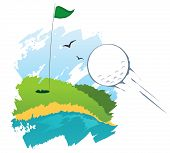 Stylized golf field with flying ball poster