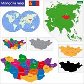 Map of administrative divisions of Mongolia poster