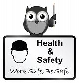 Monochrome comical health and safety sign isolated on white background poster