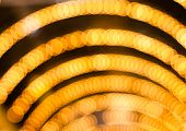 Defocused abstract yellow gold lights christmas arch background poster