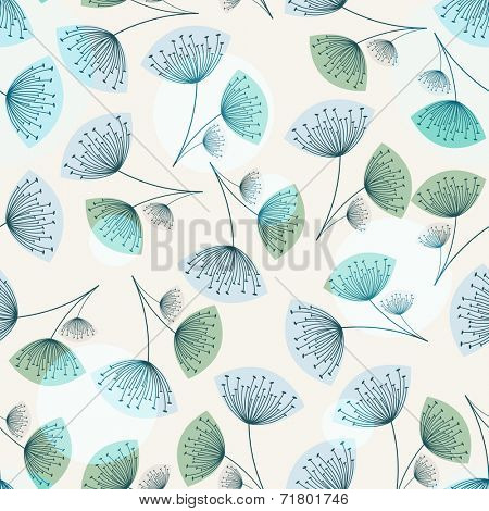 Seamless dandelion pattern in trendy colors