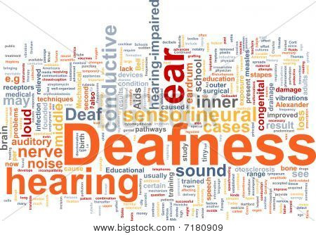 Word cloud concept illustration of hearing deafness poster