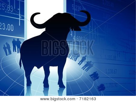 Bull On Blue Business Background