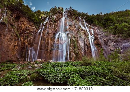 Big Waterfall In Plitvice Lakes National Park, Croatia