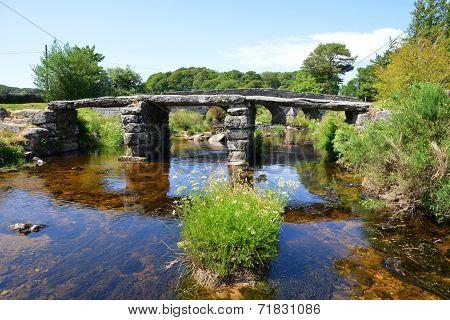 The ancient clapper bridge in Dartmoor