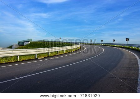 Turn In The Road With Guard Rail