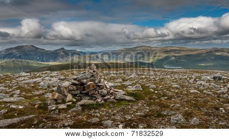Summit Cairn On Craig Dhudh Fannaich