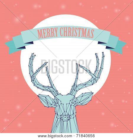 Christmas deer on pink background