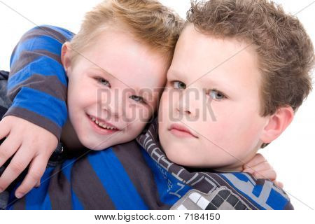 two cute blond brothers