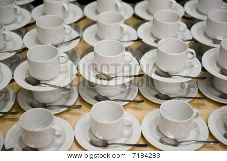 White Cups With Saucers