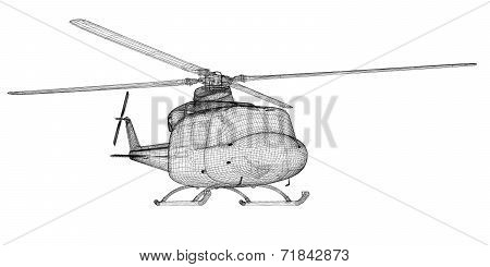 Transport helicopter,  body structure , wire model poster