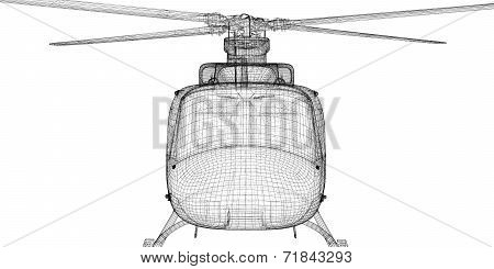 Military transport helicopter,  body structure , wire model poster