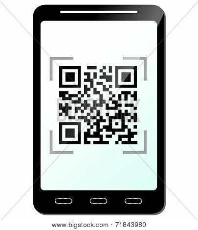 Illustration Of Phone With Qr Code Concept