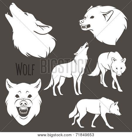 Grey Wolf Silhouette set